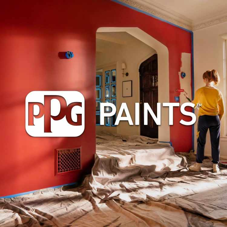 PPG Paint logo with woman painting living room red