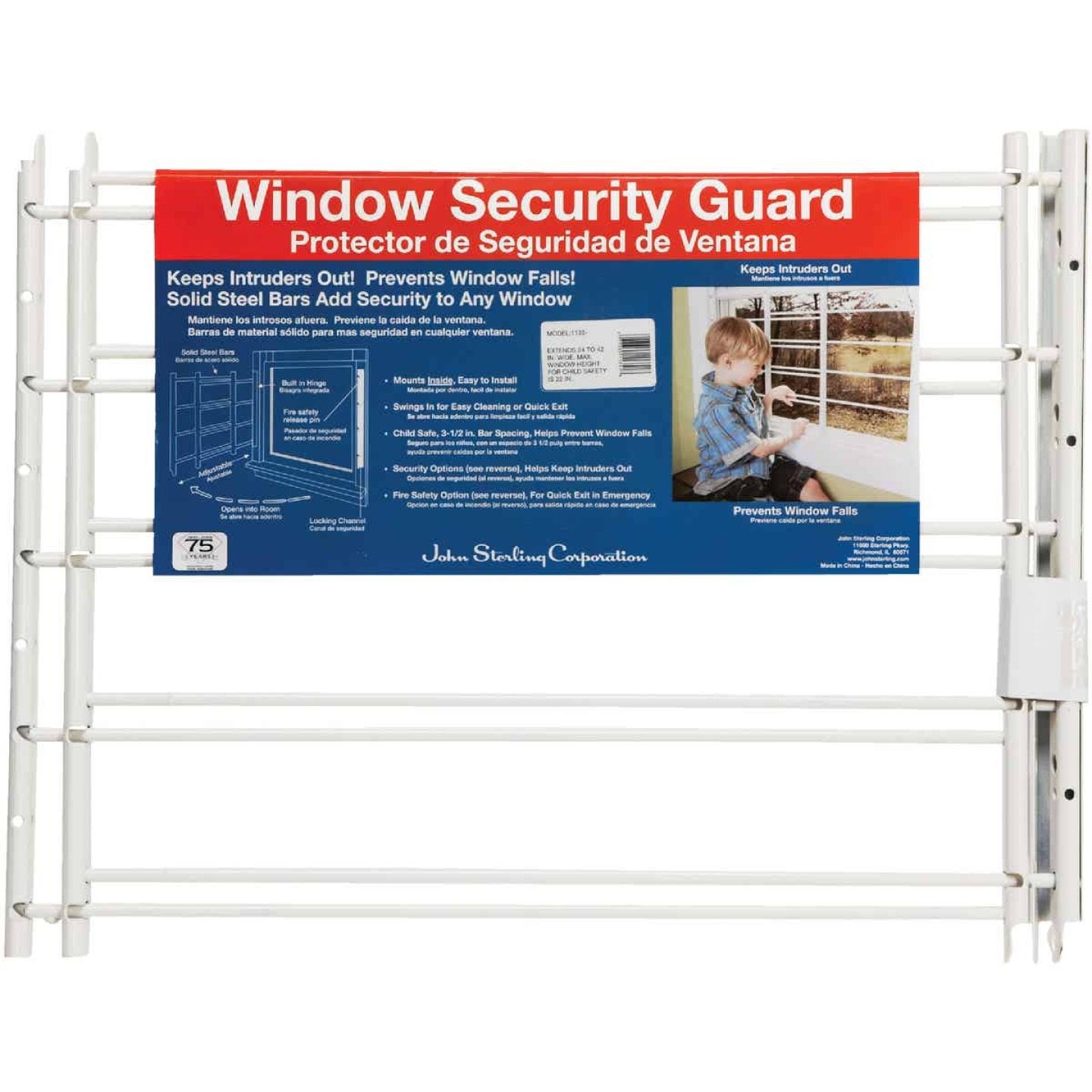 John Sterling Corp Hinged White Enamel 5-Bar Child Safety & Window Security Guard Image 4