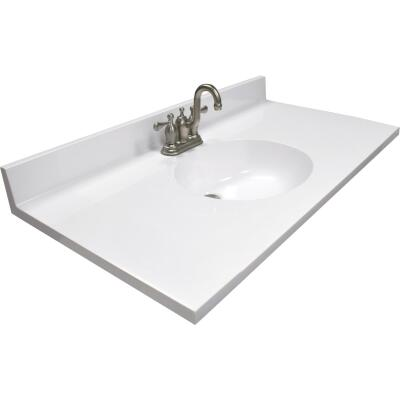 Modular Vanity Tops 37 In. W x 22 In. D Solid White Cultured Marble Vanity Top with Oval Bowl