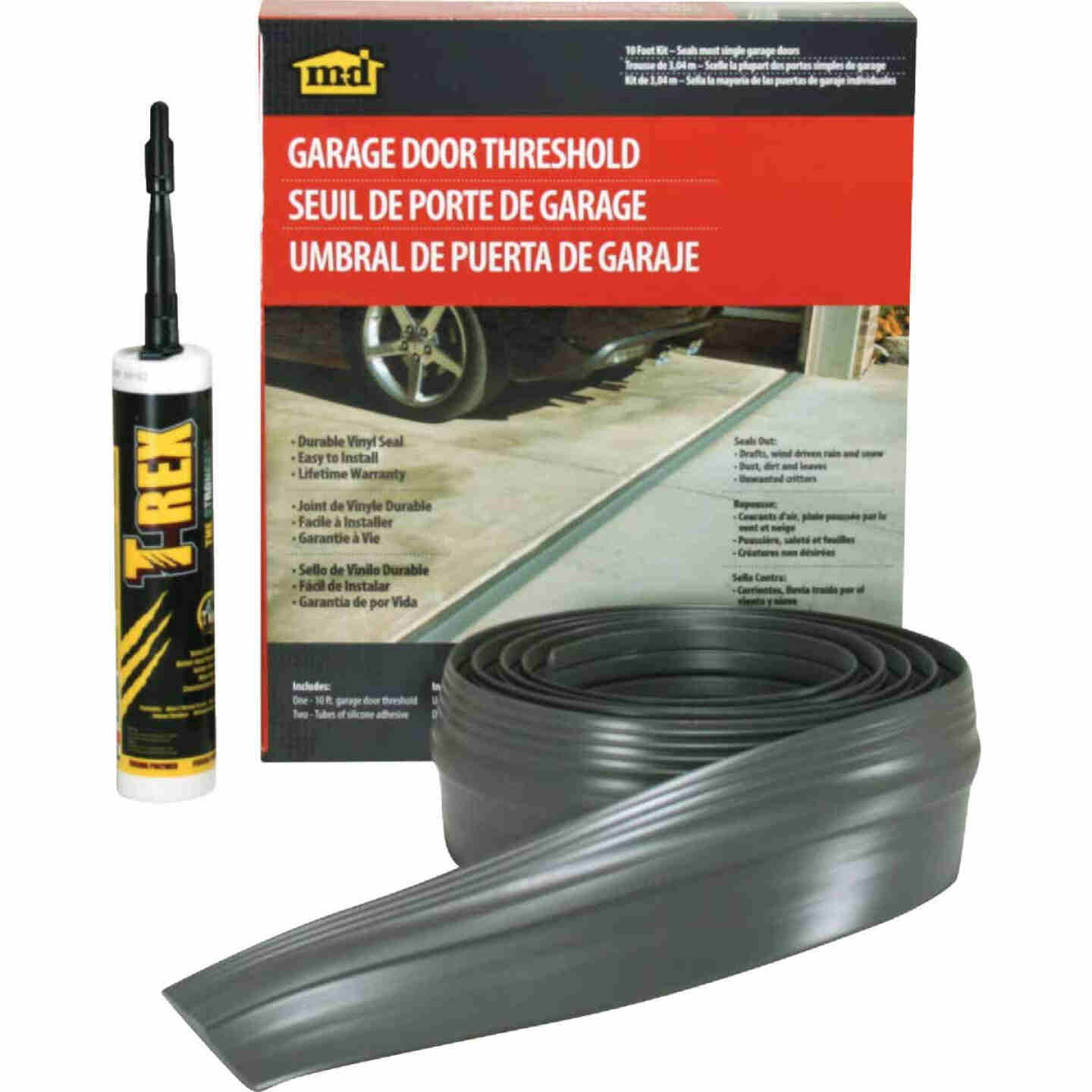 M-D 3-1/2 In. x 20 Ft. Gray Vinyl Threshold Garage Door Seal Kit Image 1