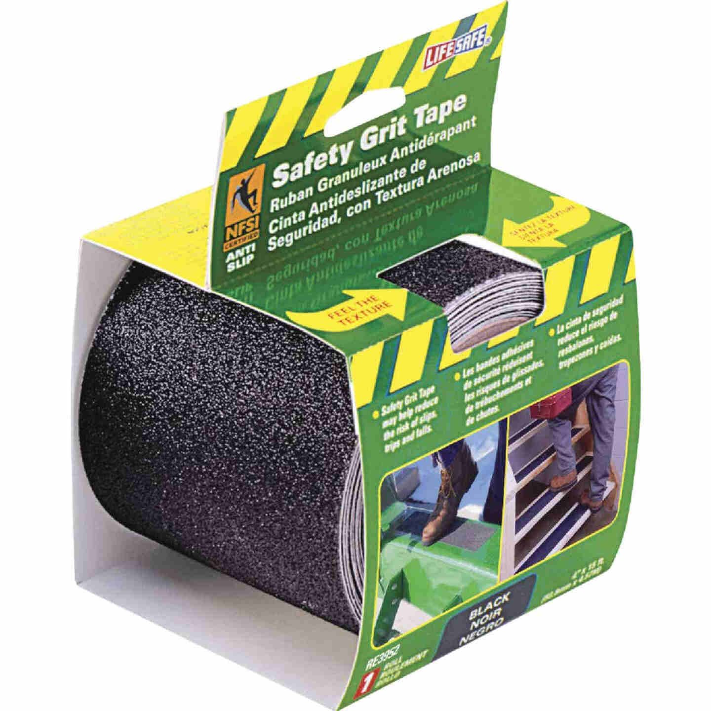 LIFESAFE 4 In.x 15 Ft. Black Anti-Slip Walk Safety Tape Image 1