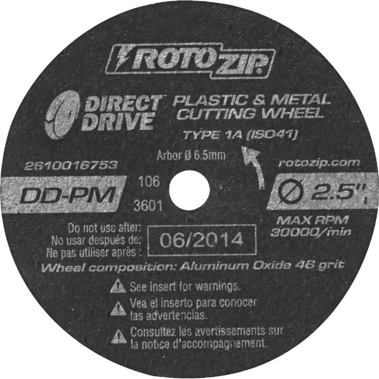 Rotozip Direct Drive 2-1/2 In. 30,000 rpm Plastic and Metal Cutting Wheel Image 1