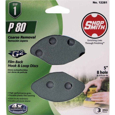 Shop Smith 5 In. 180-Grit 8-Hole Pattern Vented Sanding Disc with Hook & Loop Backing (3-Pack)