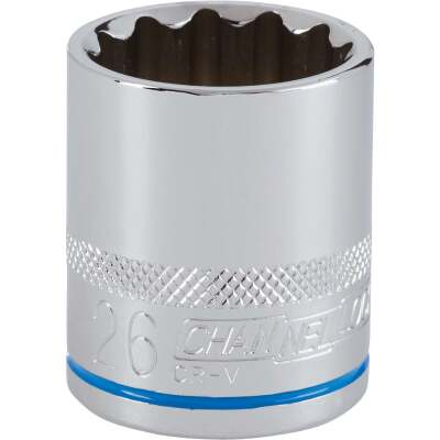 Channellock 1/2 In. Drive 26 mm 12-Point Shallow Metric Socket
