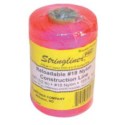 Stringliner 500 Ft. Fluorescent Pink Braided Nylon Mason Line