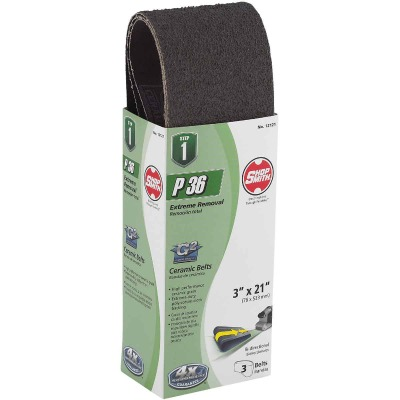 Gator Blade 3 In. x 21 In. 36 Grit Heavy-Duty Sanding Belt (3-Pack)