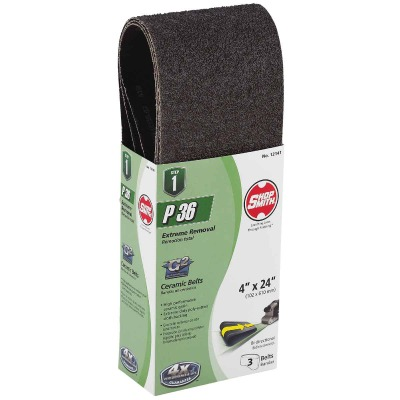 Gator Blade 4 In. x 24 In. 36 Grit Heavy-Duty Sanding Belt (3-Pack)