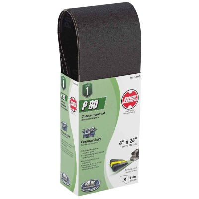 Gator Blade 4 In. x 24 In. 80 Grit Heavy-Duty Sanding Belt (3-Pack)