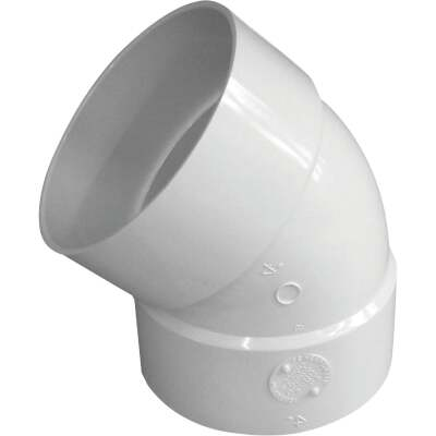 IPEX Canplas 4 In. SDR 35 45 Deg. PVC Sewer and Drain Elbow (1/8 Bend)