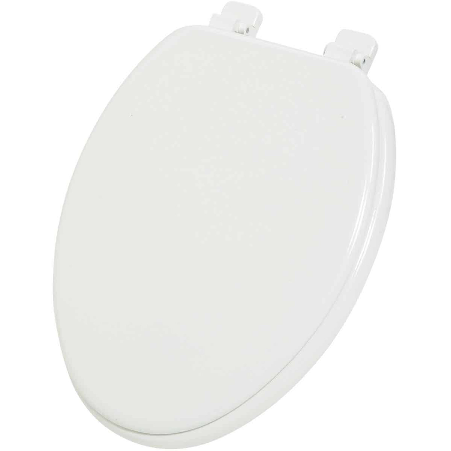 Home Impressions Elongated Closed Front White Wood Toilet Seat Image 1