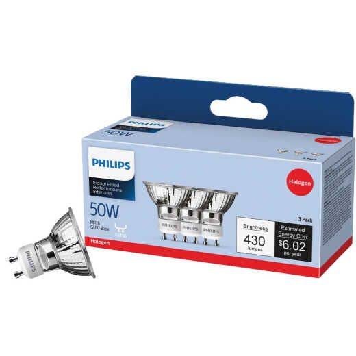 Philips 60W Equivalent Clear GU10 Base MR16 Halogen Floodlight Light Bulb (3-Pack)