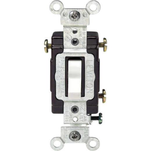 Leviton Illuminated Grounded Toggle White 15A 3-Way Switch