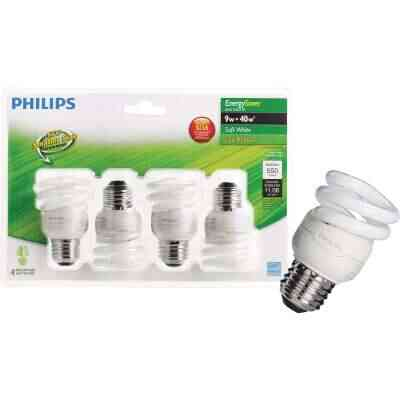 Philips Energy Saver 40W Equivalent Soft White Medium Base T2 Spiral CFL Light Bulb (4-Pack)