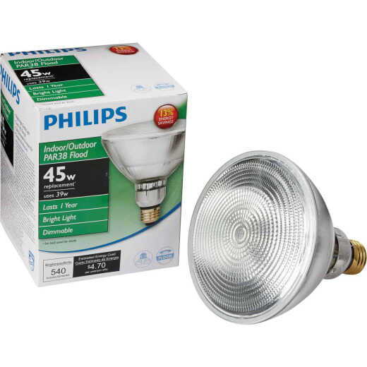 Philips EcoVantage 45W Equivalent Clear Medium Base PAR38 Halogen Floodlight Light Bulb