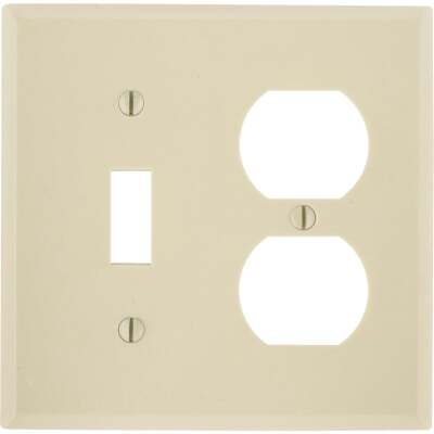 Leviton Oversized 2-Gang Thermoset Single Toggle/Duplex Outlet Wall Plate, Ivory