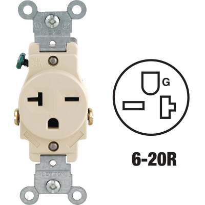 Leviton 20A Ivory Heavy-Duty 6-20R Grounding Single Outlet