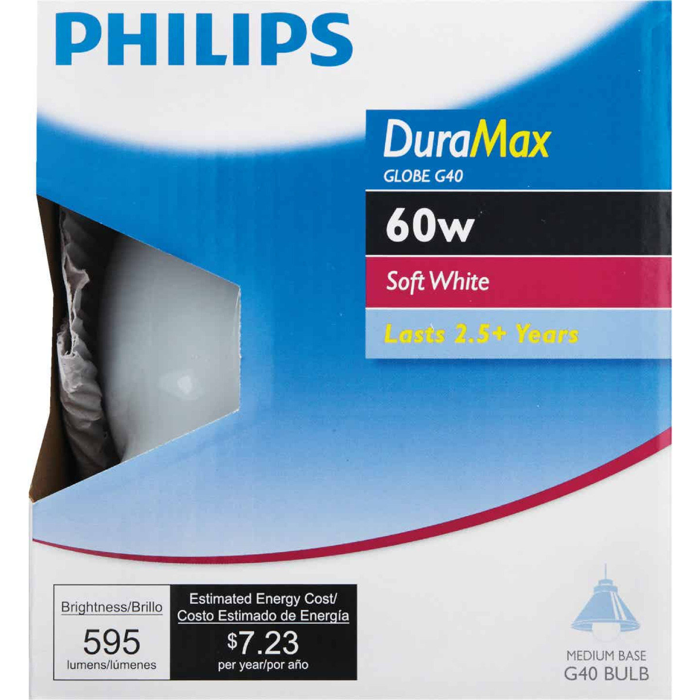 Philips DuraMax 60W Frosted Soft White Medium Base G40 Incandescent Globe Light Bulb Image 2