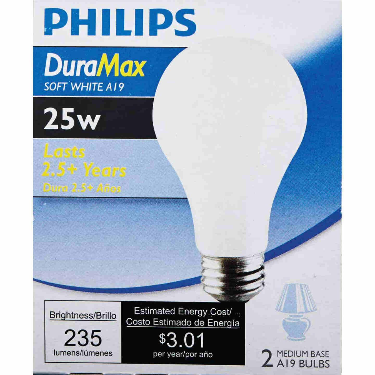 Philips Duramax 25W Frosted Soft White Medium Base A19 Incandescent Light Bulb (2-Pack) Image 2