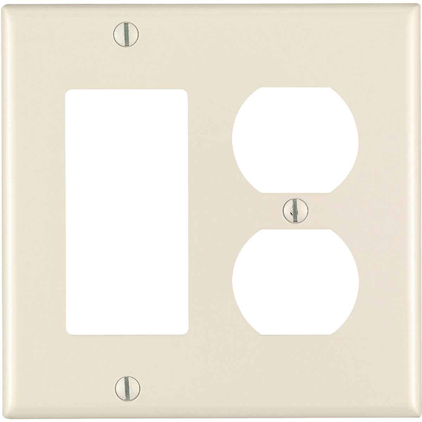 Leviton 2-Gang Smooth Plastic Single Rocker/Duplex Outlet Wall Plate, Light Almond Image 1