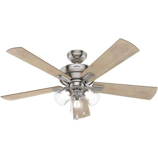 Hunter Crestfield 52 In. Brushed Nickel Ceiling Fan with Light Kit