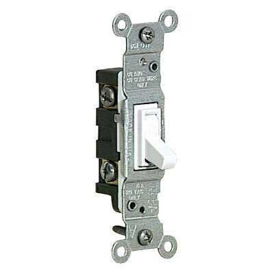 Leviton Residential Grade 15 Amp Toggle Single Pole Grounded Switch, White