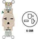 Leviton 20A Light Almond Heavy-Duty 6-20R Grounding Single Outlet Image 1