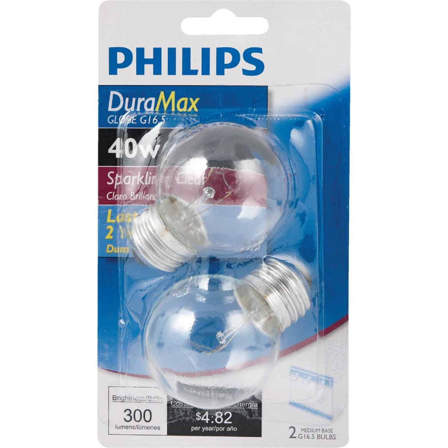 Philips DuraMax 40W Clear Medium G16.5 Incandescent Globe Light Bulb (2-Pack) Image 2