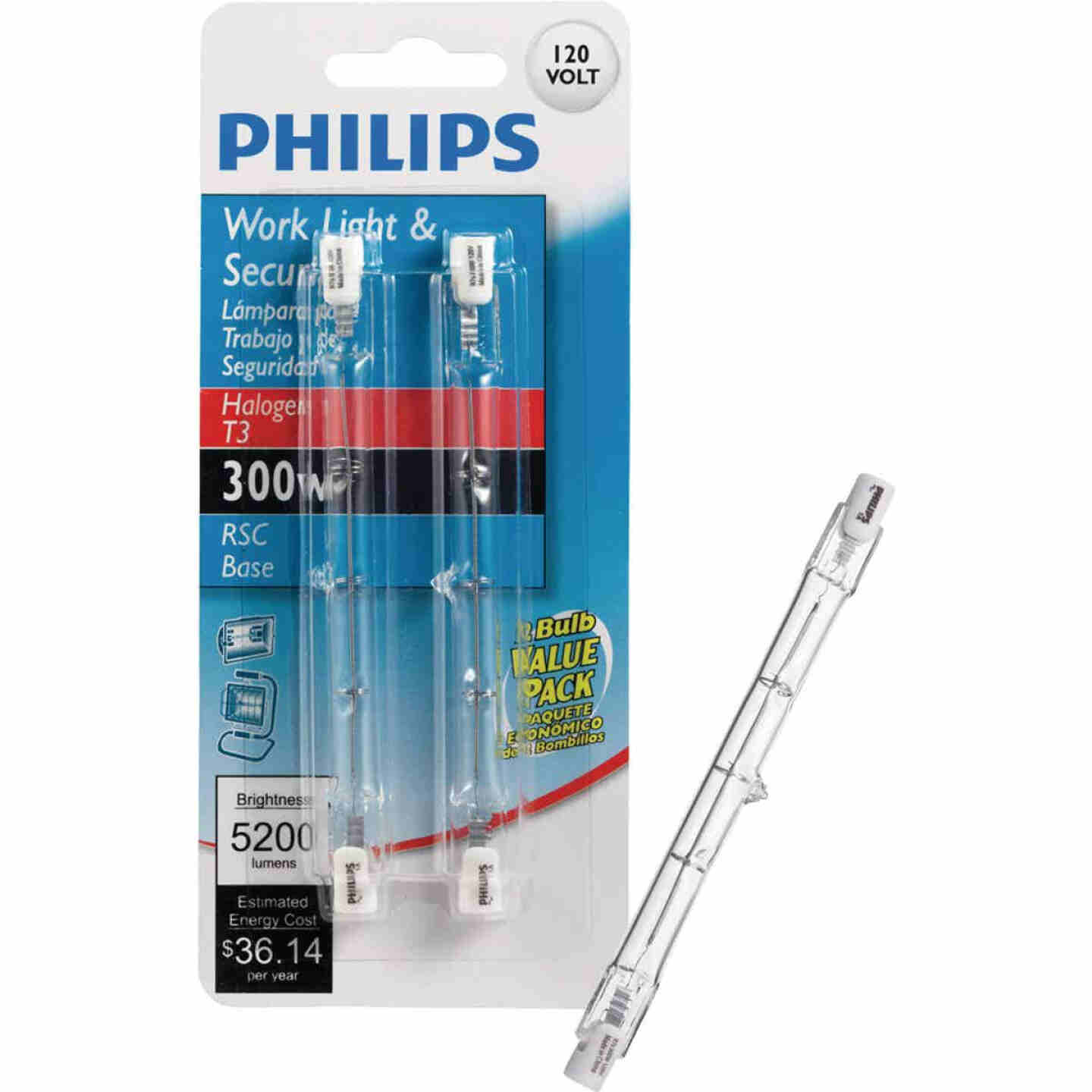 Philips 300W 120V Clear RSC Base T3 Work Light Bulb (2-Pack) Image 1