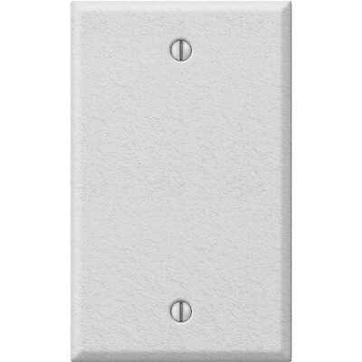 Amerelle 1-Gang Standard Stamped Steel Blank Wall Plate, White Wrinkle
