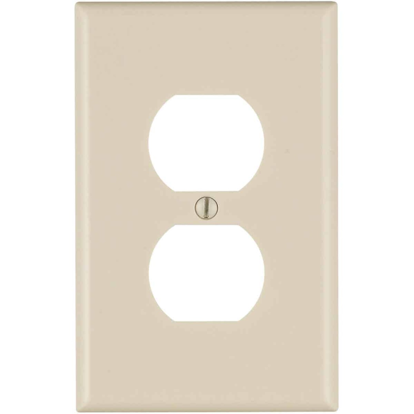 Leviton Mid-Way 1-Gang Smooth Plastic Outlet Wall Plate, Light Almond Image 1