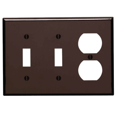Leviton 3-Gang Plastic 2-Toggle/Duplex Outlet Wall Plate, Brown