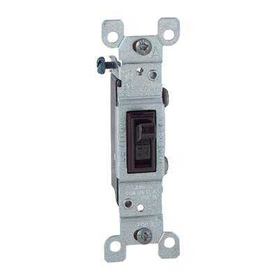 Leviton Residential Grade 15 Amp Toggle Single Pole Grounded Switch, Brown