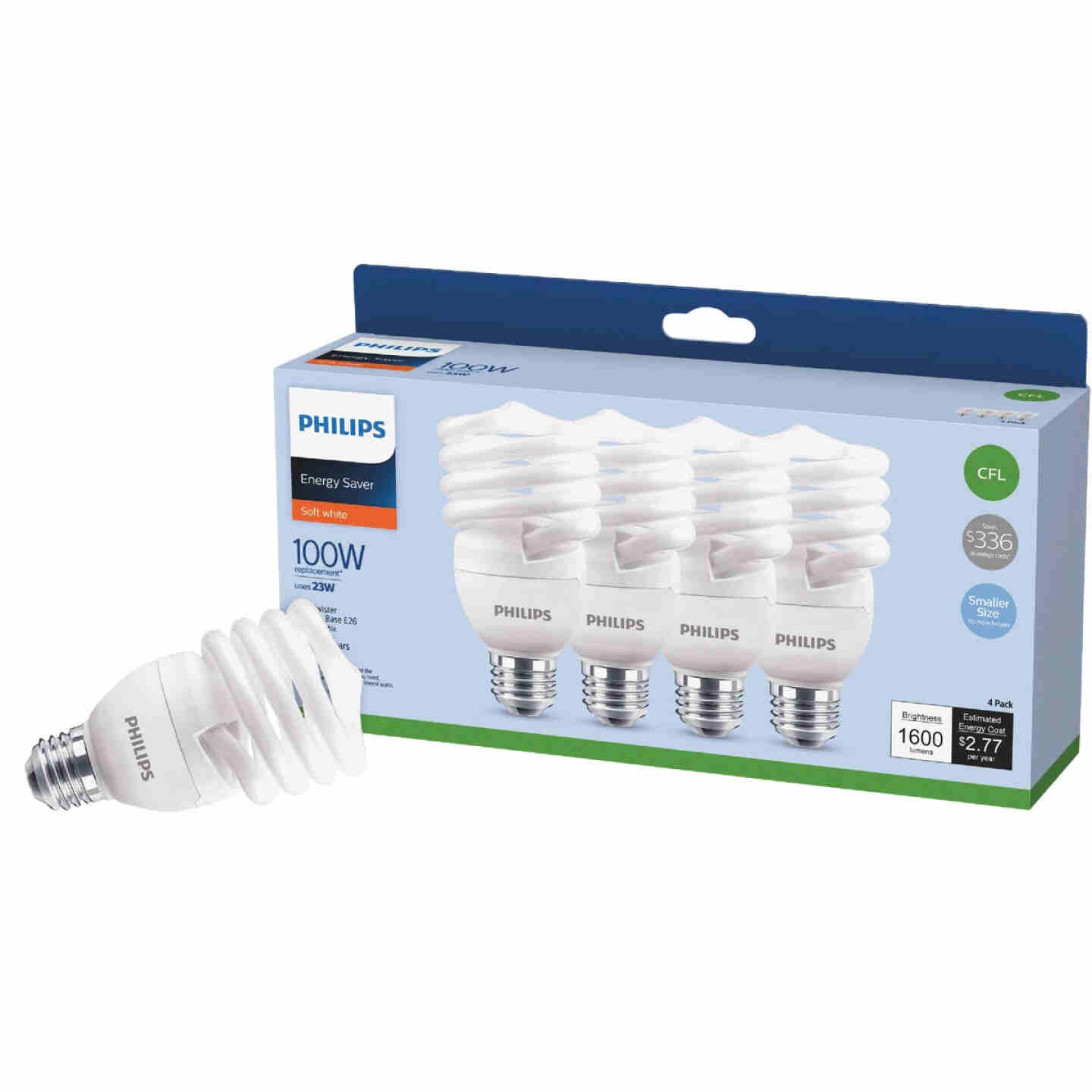 Philips Energy Saver 100W Equivalent Soft White Medium Base T2 Spiral CFL Light Bulb (4-Pack) Image 1