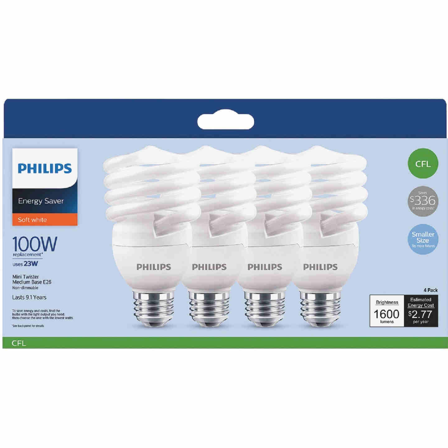 Philips Energy Saver 100W Equivalent Soft White Medium Base T2 Spiral CFL Light Bulb (4-Pack) Image 2