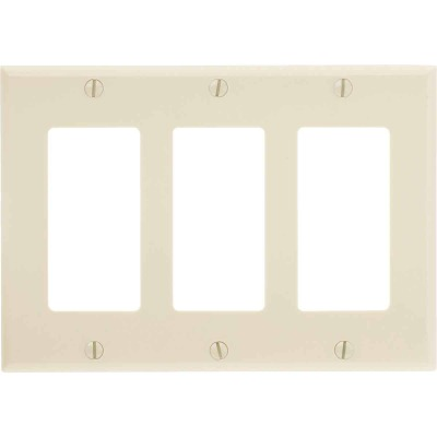 Leviton Decora 3-Gang Smooth Plastic Rocker Decorator Wall Plate, Ivory