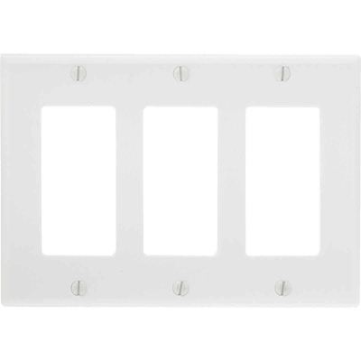 Leviton Decora 3-Gang Smooth Plastic Rocker Decorator Wall Plate, White