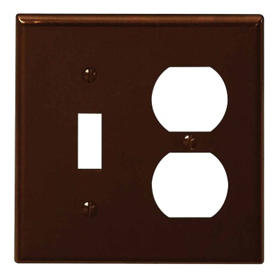 Leviton 2-Gang Plastic Single Toggle/Duplex Outlet Wall Plate, Brown