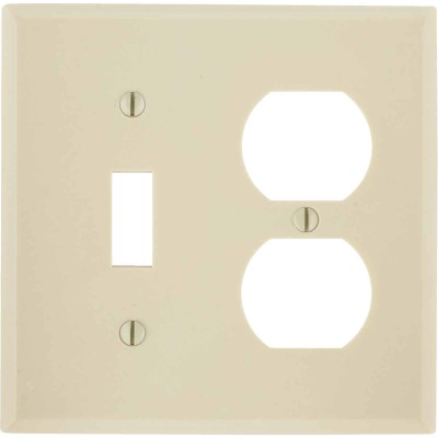 Leviton 2-Gang Plastic Single Toggle/Duplex Outlet Wall Plate, Ivory