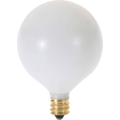 Satco 60W Frosted Soft White Candelabra Base G16.5 Incandescent Globe Light Bulb (2-Pack)