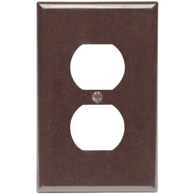 Leviton Mid-Way 1-Gang Smooth Plastic Outlet Wall Plate, Brown