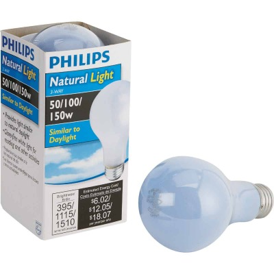 Philips 50/100/150W Frosted Natural Light Medium Base A21 Incandescent 3-Way Light Bulb