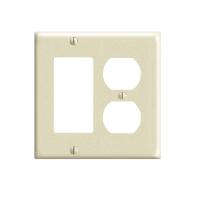 Leviton 2-Gang Smooth Plastic Single Rocker/Duplex Outlet Wall Plate, Ivory