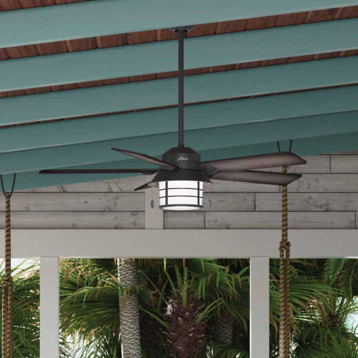 Hunter Key Biscayne 54 In. Weathered Zinc Outdoor Ceiling Fan with Light Kit