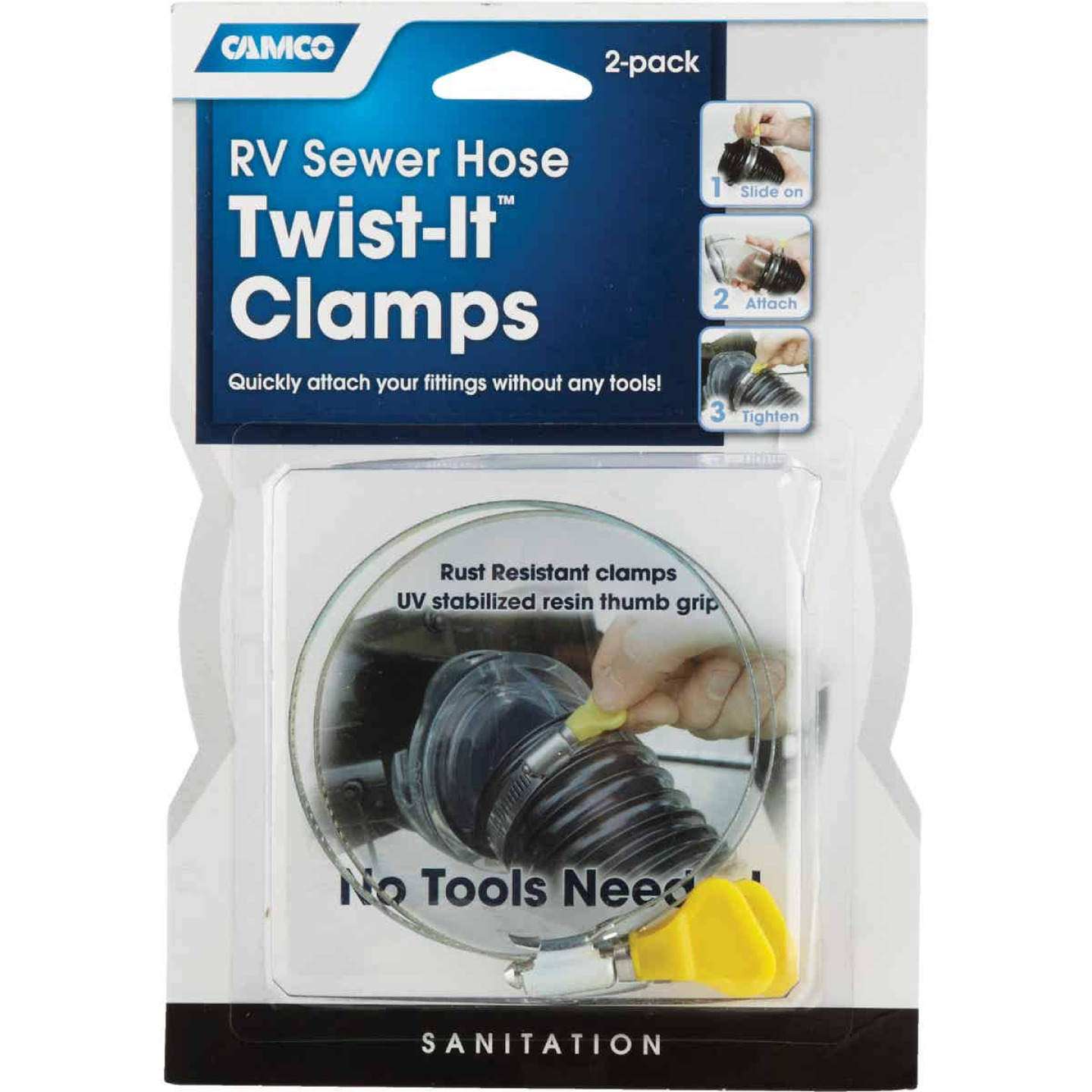 Camco 3 In. Twist-It Clamp RV Sewer Hose Connector, (2-Pack) Image 2
