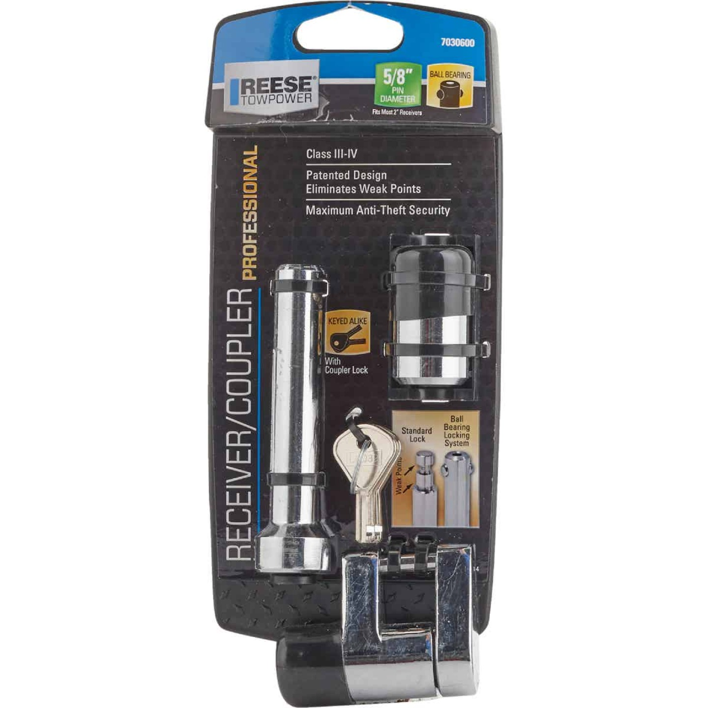 Reese Towpower Chrome-Plated 5/8 In. Dia. Professional Receiver/Coupler Lock Set Image 2
