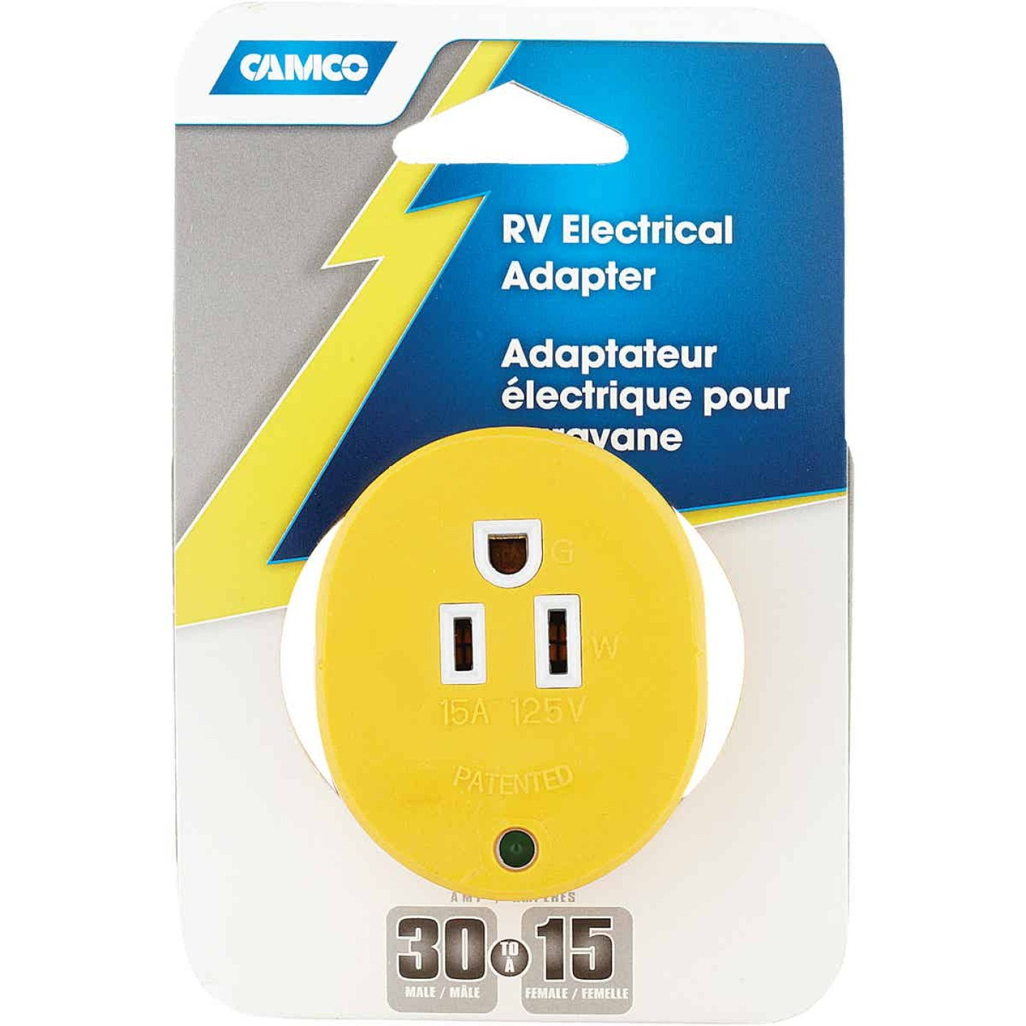 Camco Power Grip 30A Male to 15A Female RV Plug Adapter Image 2