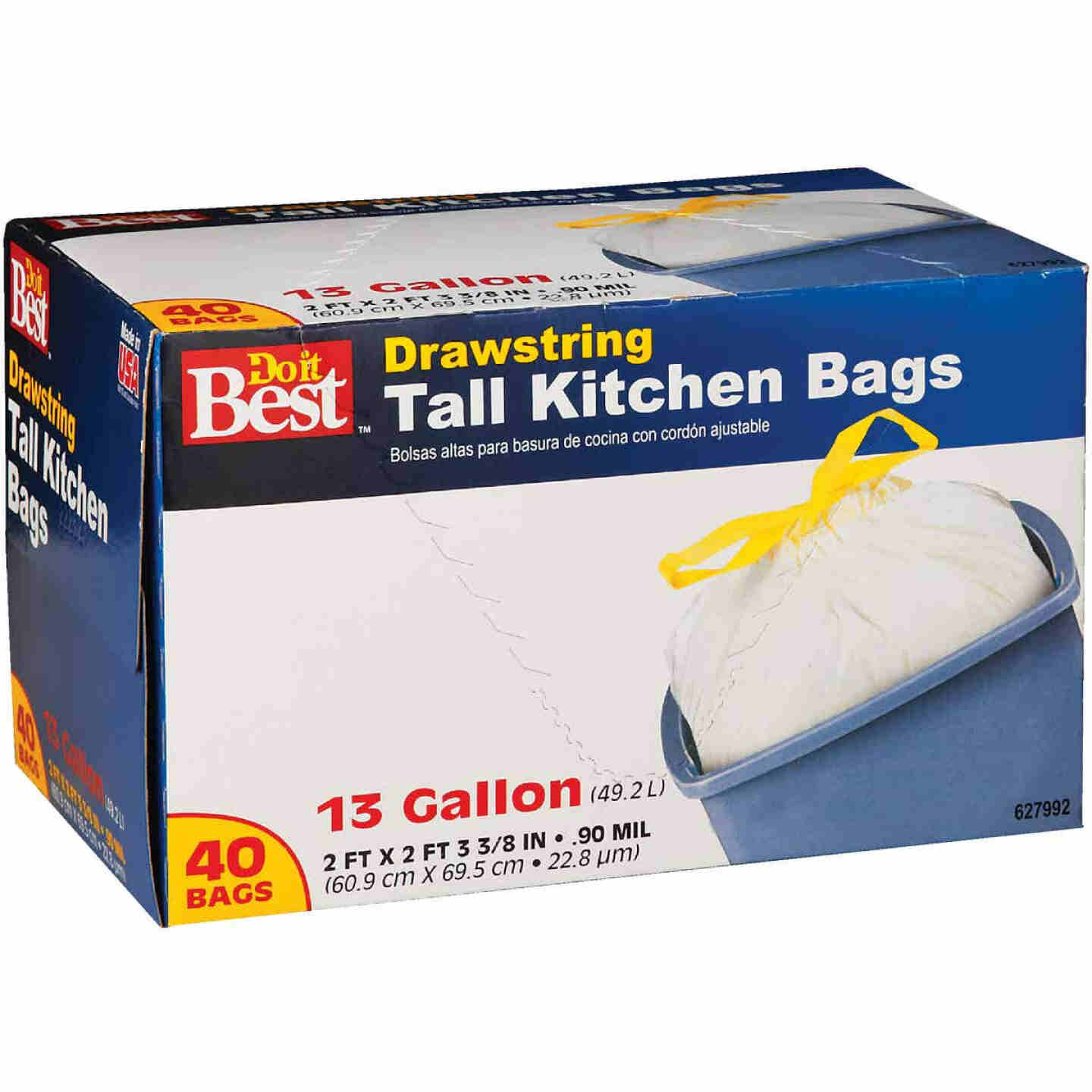 Do it Best 13 Gal. Tall Kitchen White Trash Bag (40-Count) Image 1