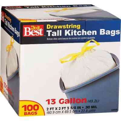 Do it Best 13 Gal. Tall Kitchen White Trash Bag (100-Count)