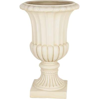 Best Garden 24 In. H. x 15 In. Dia. Cast Resin & Fiberglass White Urn