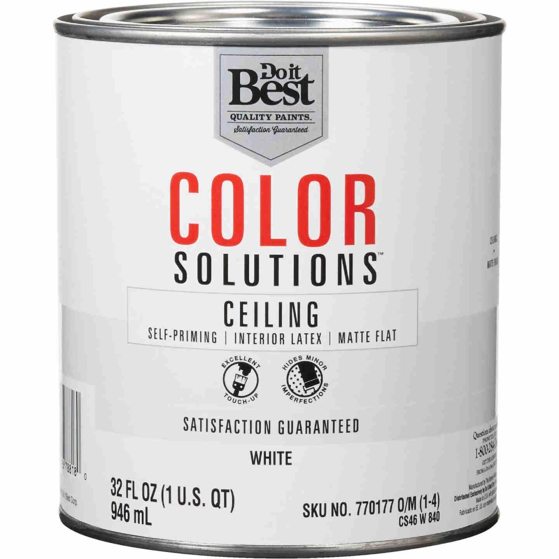 Do it Best Color Solutions Latex Self-Priming Flat Ceiling Paint, White, 1 Qt. Image 1